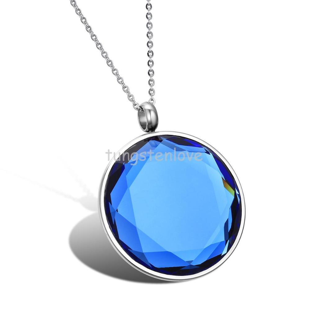 Fashion Stainless Steel Mens Womens Pendant Necklaces Mirror Polishing Round Blue Crystal Necklace(China (Mainland))