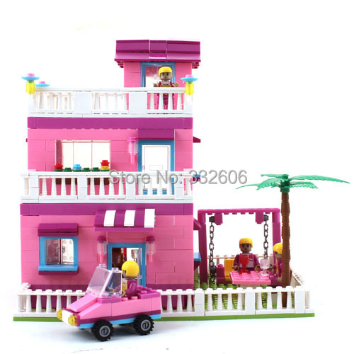 Ausini Building Blocks Toy Pink House Villa Princess Construction Educational Bricks Toys Girls Model Kits - C&T store