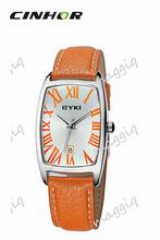 Eyki vestido reloj banda de cuero Casual de señora Quartz reloj amarillo color-EET8546G-Y