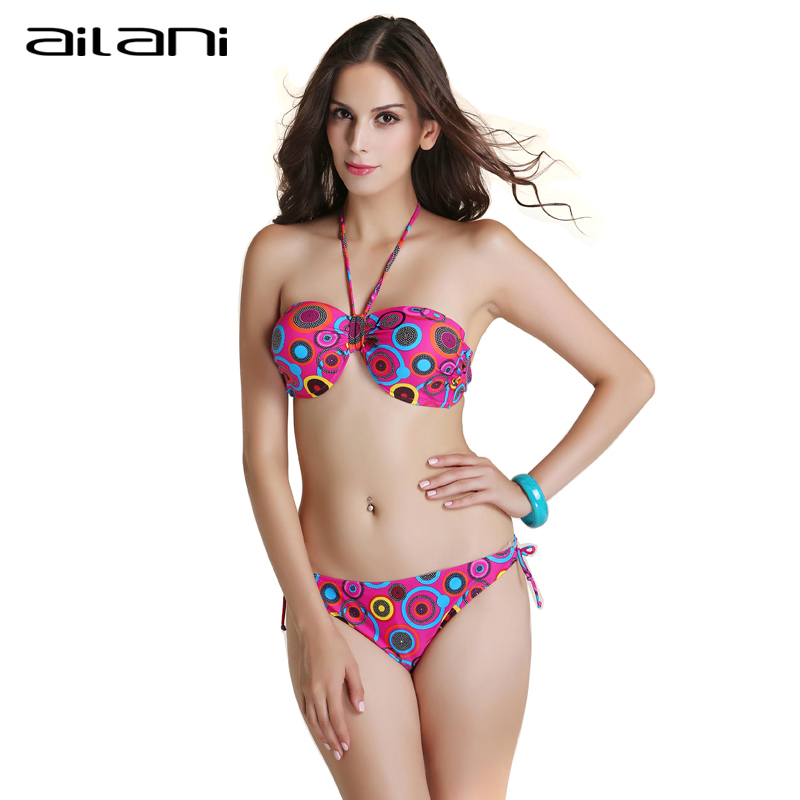 Beachwear Retro Bikini 2016 New Print Dot Swimming Suit For Women Summer Style Sexy Female Halter Bikinis Set Top AL199(China (Mainland))