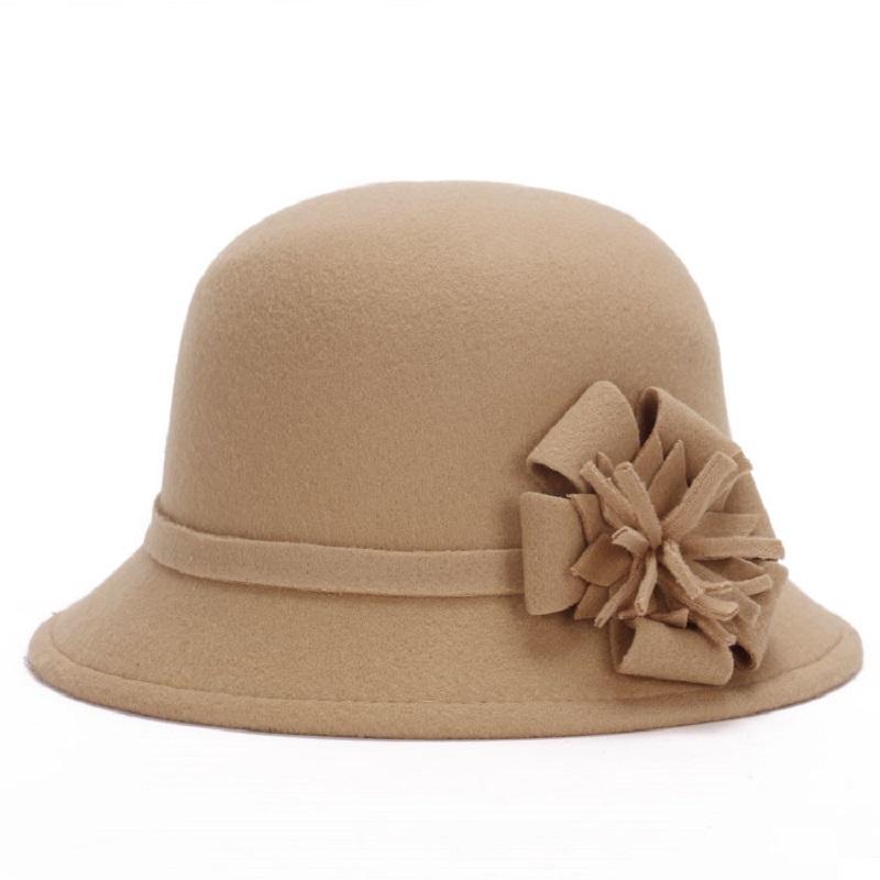 Ladies Felt Bowler Hats Floral Artificial Wool Fedoras Hats for Women Winter royal princess Caps 6colors 2015 NewBonnet LQJ01094(China (Mainland))