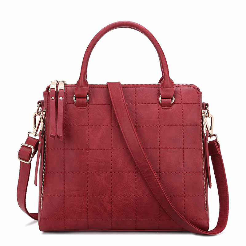 STYLISH WINE SOLID HANDBAG THREAD PU LEATHER WOMEN'S SHOULDER BAG BURGUNDY CROSSBODY BAG FASHION LADY'S SATCHELS BAG UT-6562-2(China (Mainland))