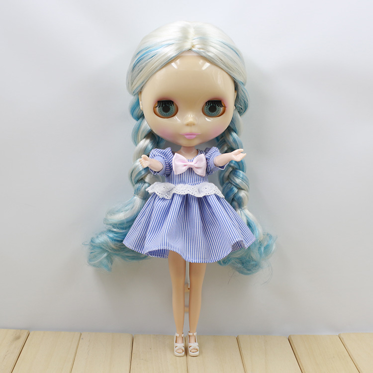 Blue and White Long Straight Hair Nude Blyth Dolls For Sale<br><br>Aliexpress