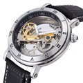 Automatic Self Wind Skeleton watch Hollow out Dial Mechanical Watches man Leather relogio masculino Rome Exquisite