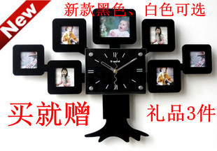 2014 real hot sale square bamboo & wooden glass & crystal 1.8 lucky photo frame wall clock fashion rustic mute art watch cartoon(China (Mainland))