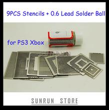 2013 Hottest 9PCS BGA Stencil PS3 Xbox Reballing Stencils Kit with 1 Bottle 25K Solder Ball 0.6mm(China (Mainland))