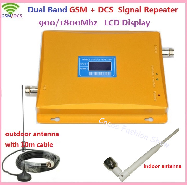 LCD Display !!! Dual Band GSM 900MHZ & DCS 1800mhz Signal Booster GSM Repeater DCS Amplifier +indoor outdoor antenna 1Sets(China (Mainland))