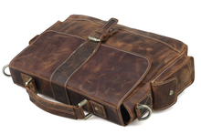 TIDING Men Cowhide Leather Briefcase Laptop Tote Shoulder Messenger Bag New Arrival 9917