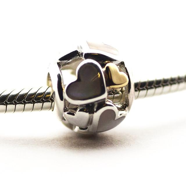 Новый горячая распродажа подходит Pandor браслеты оригинал 925 бусины 14 К золото световой сердца шарм DIY оптовая продажа