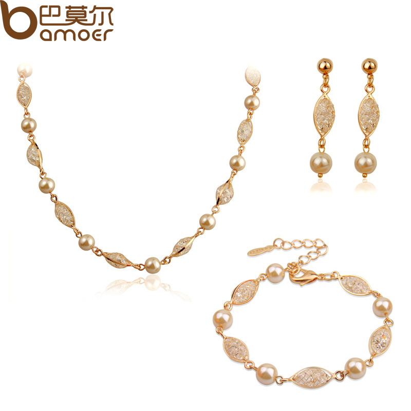 Luxury Pearl Wedding Jewelry Sets For Women 18k Rose Gold Plated Zircon Crystal High Quality Bamoer Jewelry