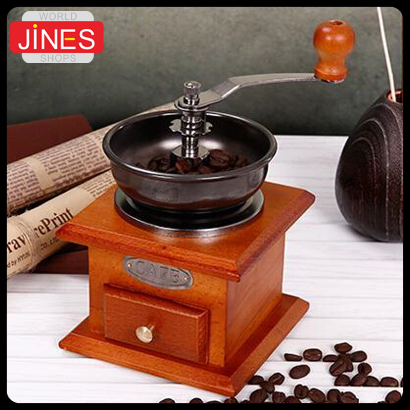 New Free shipping Gristmill Wood Manual Pepper Seeds Grinder Burr Mill Coffee Beans Machine Vintage Kitchen Appliances(China (Mainland))