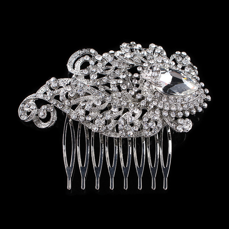 Women Wedding Hair Jewelry Compact Small Sparkling Bridal Rhinestone Hair Combs 7.5*6.1cm(China (Mainland))