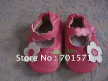 Guaranteed 100% soft soled Genuine Leather infant  baby shoes toddler shoes kids shoes  Green/White Flowers(China (Mainland))