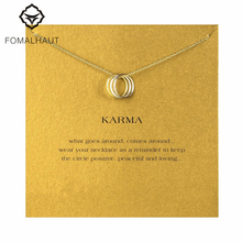 Buy Sparkling triple karma round Pendant necklace Clavicle Chain Fashion Statement Necklace Women FOMALHAUT Jewelry for $1.09 in AliExpress store