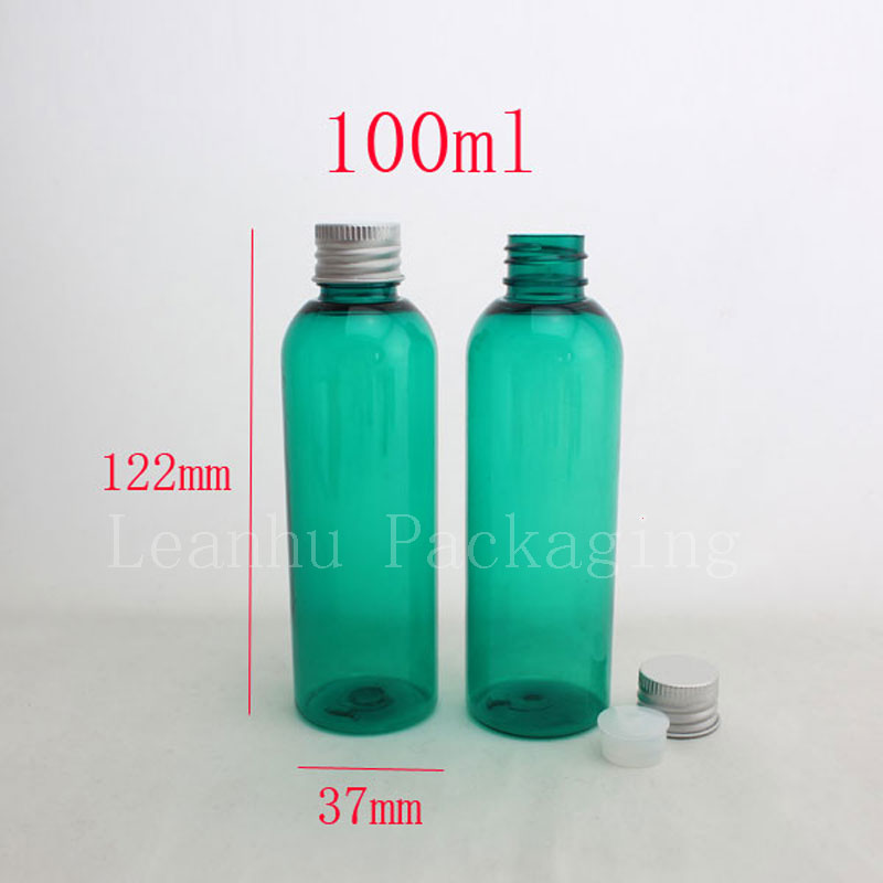 100ml green water liquid medicine empty plastic bottle aluminum cap ,100cc shampoo travel bottles ,cosmetic packaging wholesale(China (Mainland))
