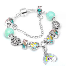 Sonykifa Summer Series High Quality Charm Bracelet Bangles for Women With Rainbow of Love Beads Fine Bracelet Fashion Jewelry(China)