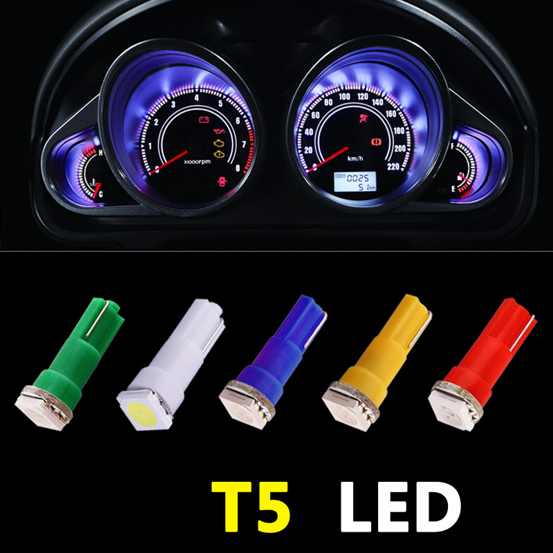 50pcs Yellow Blue Green Red White Car Interior T5 Led Light Smd Dashboard Lamp Led Bulb