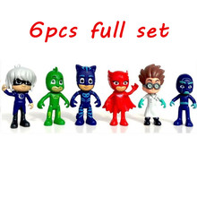 New Arrival 6pcs/set 8-9cm Pj Masks Characters Catboy Owlette Gekko Cloak Action Figure Toys Boy Birthday Gift Plastic Dolls(China (Mainland))