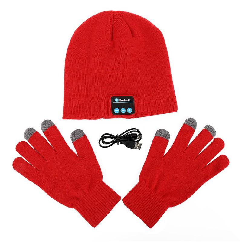 New Warm Soft Smart Headset Bluetooth Wireless Beanies Hats + Gloves Set for Women Men Unisex Caps Headphone Speaker