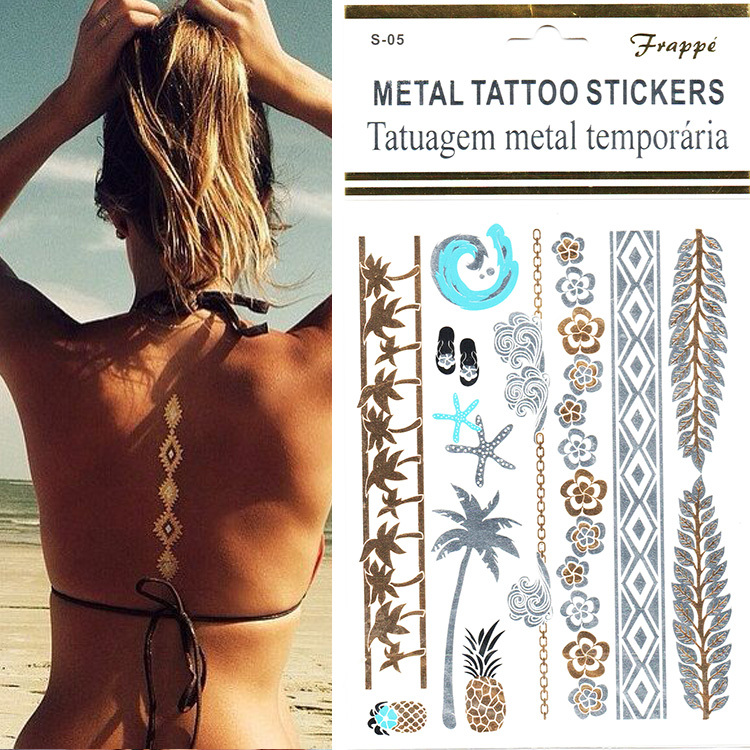 1pcs Fashion Designs Beach Patterns Gold Silver Metallic Temporary Tattoo Sticker Waterproof Flush Tatoo Stickers on The Body(China (Mainland))