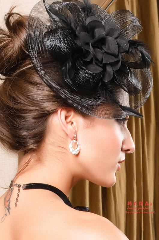 New 2013 Fashion Fascinator Feather Flower Mini Cocktail Hat Bridal Hair Accessories Women Millinery Couture Headpieces WIGO0154(China (Mainland))