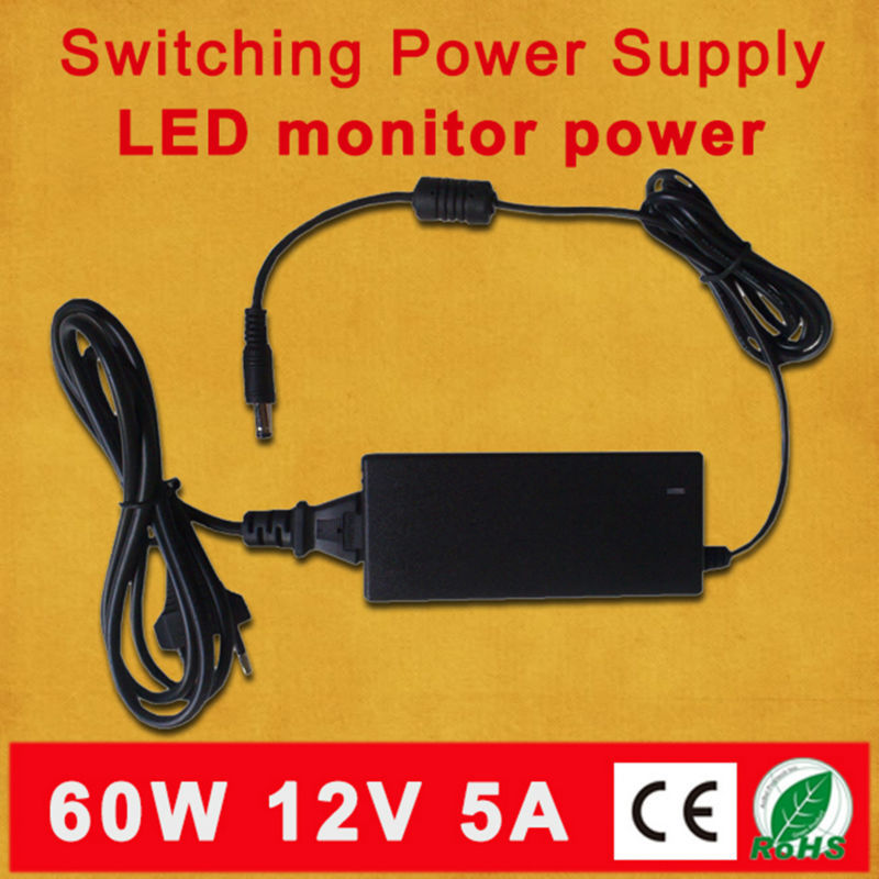 Free shipping For led strip or LCD Monitor connector US/EU/AU/UK plug DC 12V 5A 60W power adapter/ 12V equipment power supply(China (Mainland))
