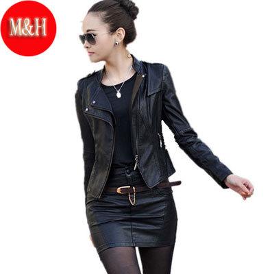 M-5XL New 2014 Spring Women Genuine PU Leather Jacket Women Design Leather Short Jacket Slim Elegant Black/Blue/Red(China (Mainland))