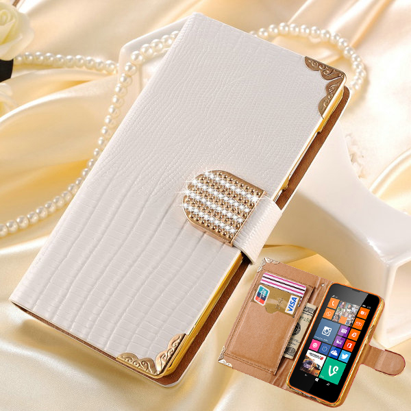 Luxury Shining Crystal Rhinestone PU Leather Case for Nokia Lumia 635 630 Bling Phone Bag Cover for Microsoft Lumia 630 635(China (Mainland))