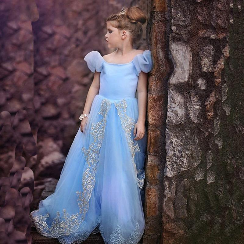Cinderella costume girls princess dress so sweet girls winter dress girl clothes children clothing(China (Mainland))