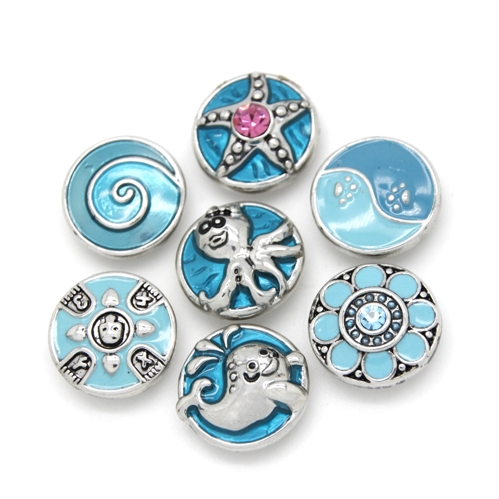 2016 Fashion 18mm Snaps Jewelry Button Blue Enamel Ginger Snap for DIY Bracelet Necklace Charms Snaps Charms SBL539(China (Mainland))