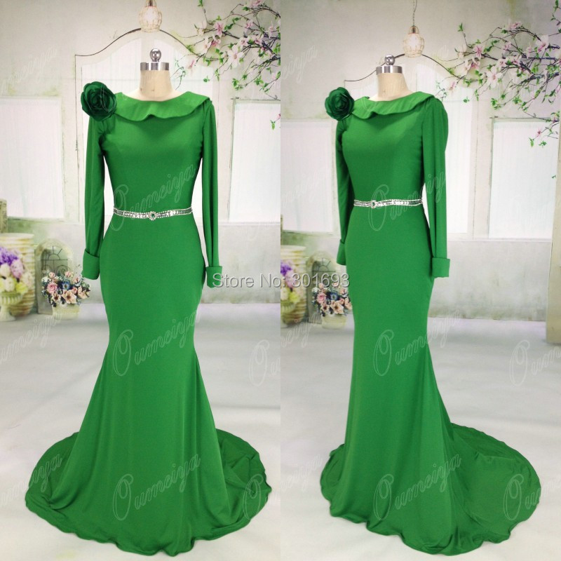Oumeiya Real Sample Pictures ORE165 Stretch Jersey and Satin Mermaid Long Sleeve Emerald Green Evening Dress Low-cut Back 2015(China (Mainland))