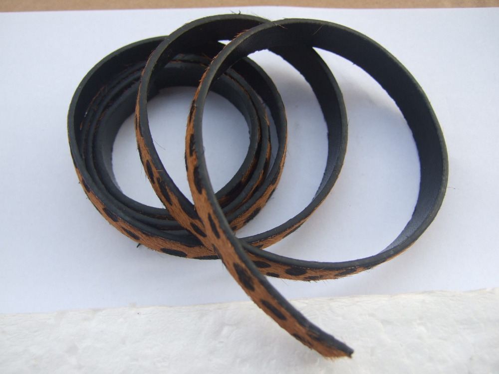 20cm Brown Horse Hair Leopard Print On Faux Flat Leather Cord 10mm(China (Mainland))