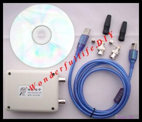 MINI custom languages 8k sample rate dual trace PC oscilloscope Fosc-21 USB computers(China (Mainland))