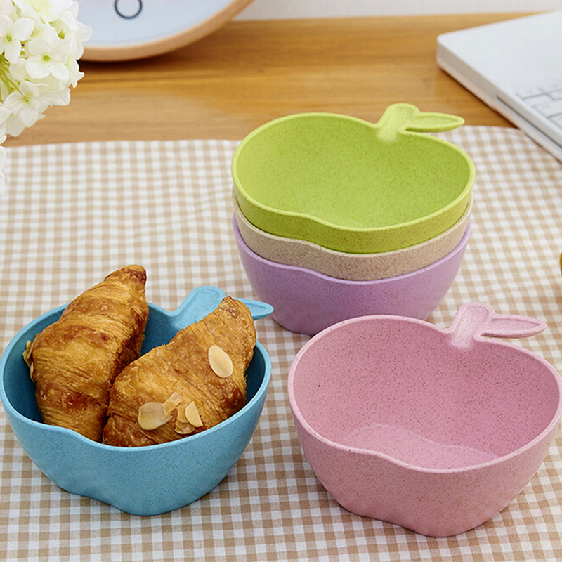 1pcs Toddler Baby Kids Child Feeding Training Bowl ,Apple Baby Feeding Bowl Tableware Children Plate Wheat fiber material Bowl(China (Mainland))
