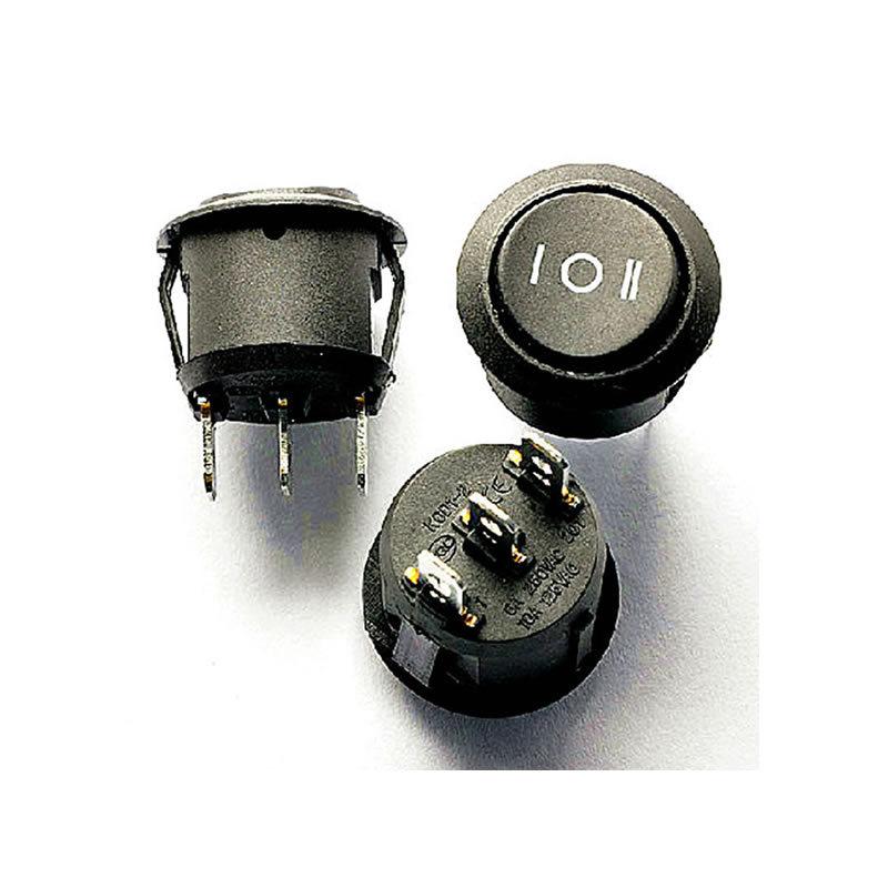 Гаджет  Free shipping 10PCS Mini Round Black 3 Pin 10A/125V 6V/250V SPDT ON-OFF Rocker Switch Snap-in None Электротехническое оборудование и материалы
