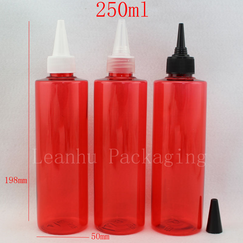 250ml red boles with pointed mouth cap