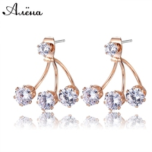Big Crystal Earrings Rhinestone Double Sided Famous Brand Jewelry Cubic Zirconia Ear Jacket Stud Earring For Women Brincos Ouro
