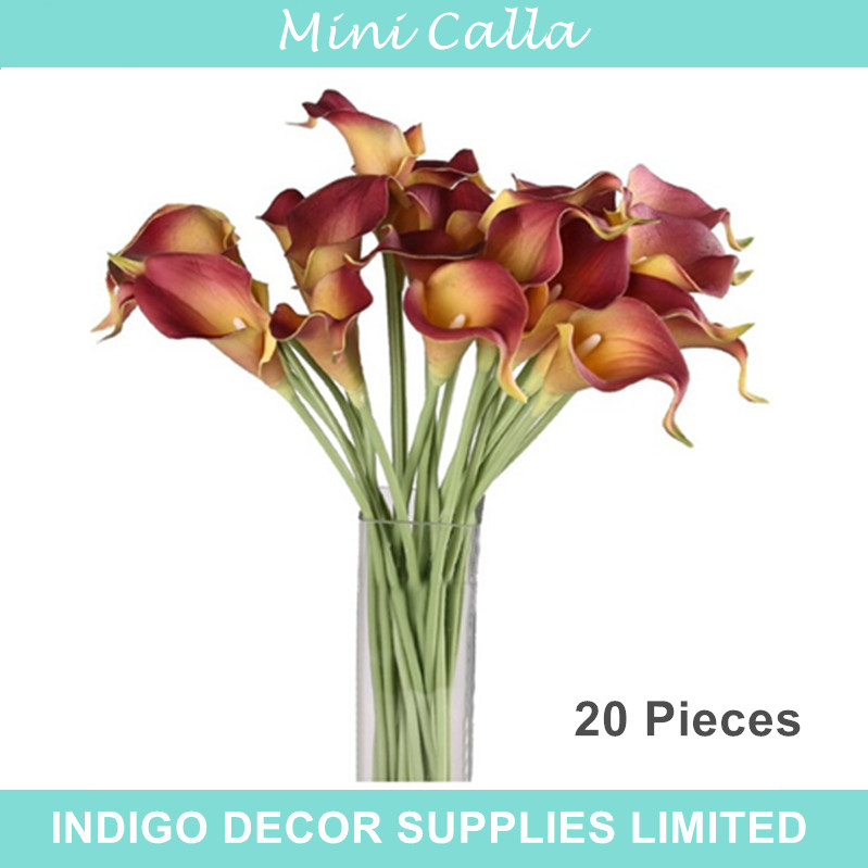 20pcs Coffee Calla Lily Mini PU Real Touch Calla Lily Decorative Flower Artificial Flower Wedding Flower Party Free Shipping(China (Mainland))