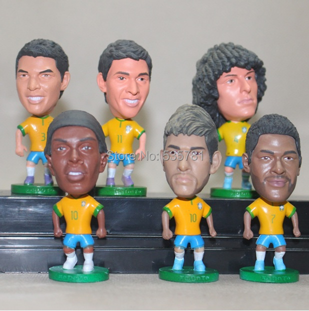 football brazilian national team Silva Hulk Ronaldinho doll 2104 world cup souvenir birthday gift women men 7pcs/lot DO027(China (Mainland))