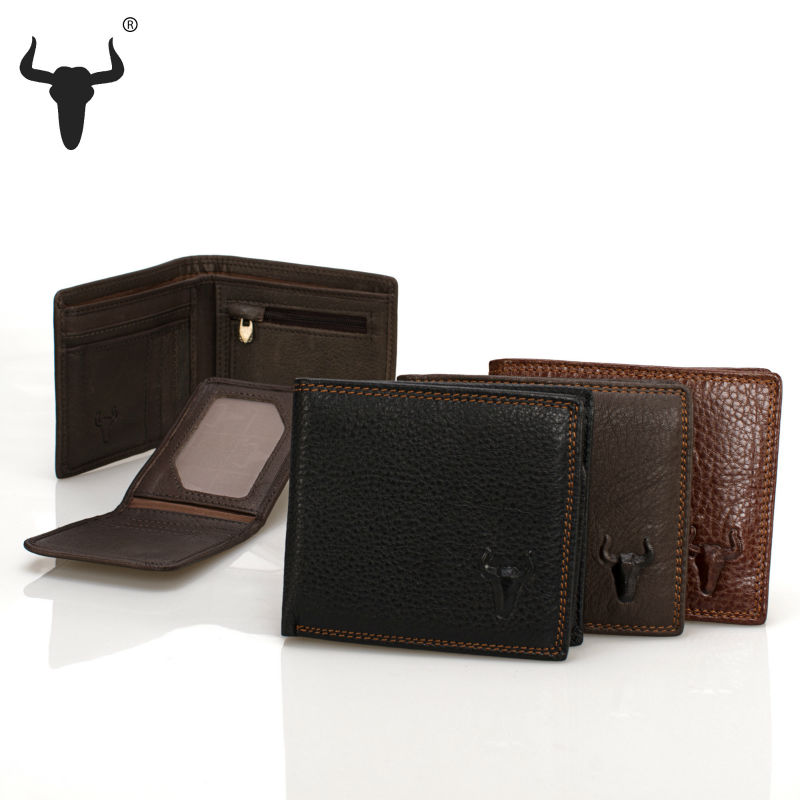 2015 New Black Horizontal Wallets For Men Brand Real Leather Short Casual Card Holder Man Men's Purse Coin Pocket Zipper Bag(China (Mainland))