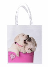 Cute Valentine Puppies Pet in a Pink Container with a Heart Print Lightweight Polyester Fabric Reusable Grocery Bag Pack of 4()