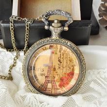 New Vintage Eiffel Tower Glasses Bronze Pocket Watch Necklace Women Quartz Watch Hours Gift(China (Mainland))