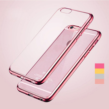 New ! Luxury Ultra Thin Clear Crystal Rubber Plating Electroplating TPU Soft Mobile Phone Case For iPhone 6 6s Plus Cover 5 S SE(China (Mainland))