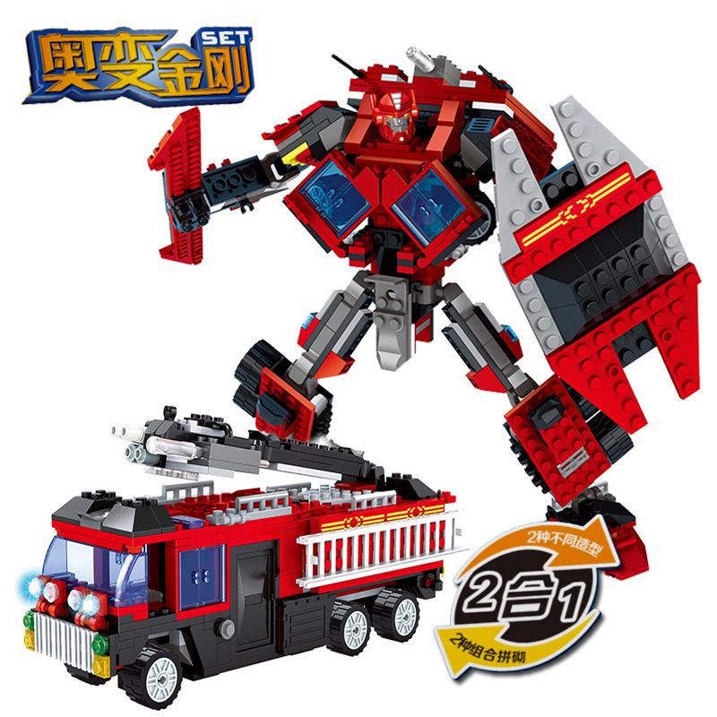 Building Block Sets Compatible lego Fire Fighting Truck Robot 3D Construction Bricks Educational Hobbies Toys Kids - JENS store