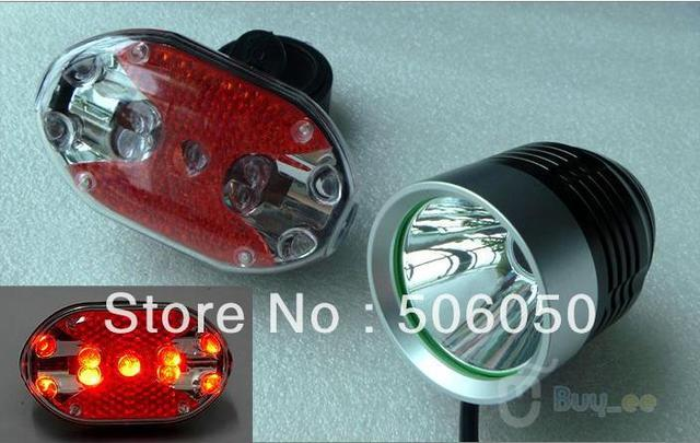 CREE XM-L T6 XML T6 Bicycle Light HeadLight 3 Mode Waterproof Bike Front Light LED HeadLamp Battery Pack+bike rear Light