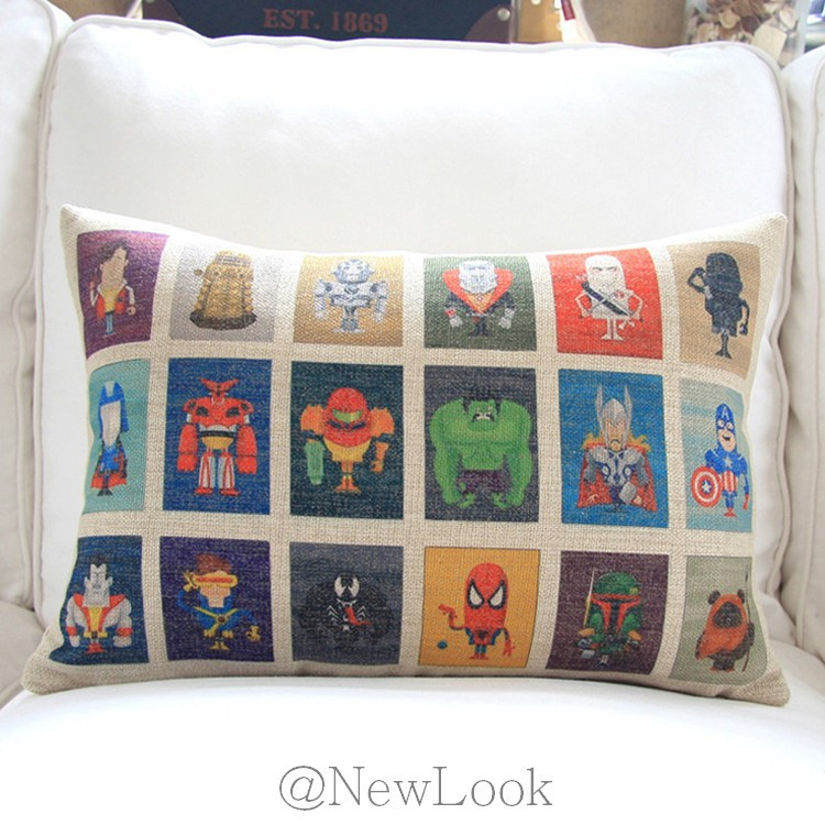 comics hero linen decorative throw pillows decorate for a sofa cushion cover pillow cover case. Black Bedroom Furniture Sets. Home Design Ideas