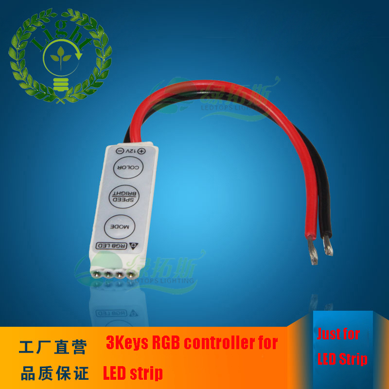 3 keys RGB mini controller dimmer 19 Dynamic Modes and 20 Static Color F for 3528