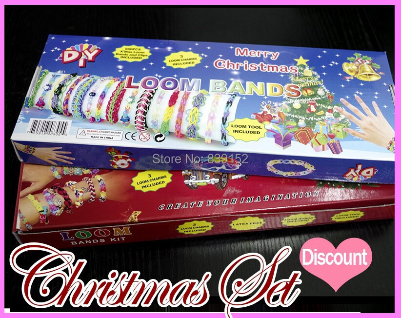 2014 Diy Rubber Loom Bands Box Set 600 pcs Bands + 1 loom Board + 1 hook+24 s-clip Christmas Exclusive Wholesale For Kids Gift(China (Mainland))