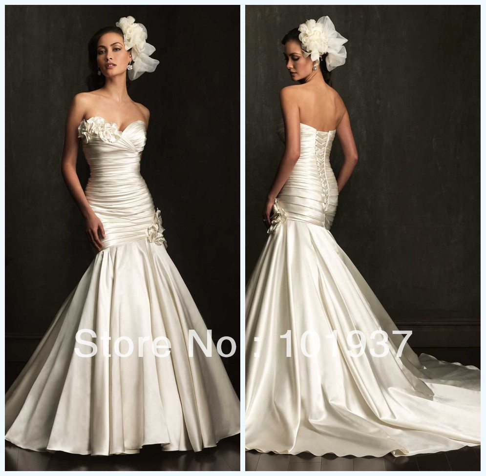 Ab9053 cheap gorgeous ivory sweetheart flowers bridal for Beautiful ivory wedding dresses