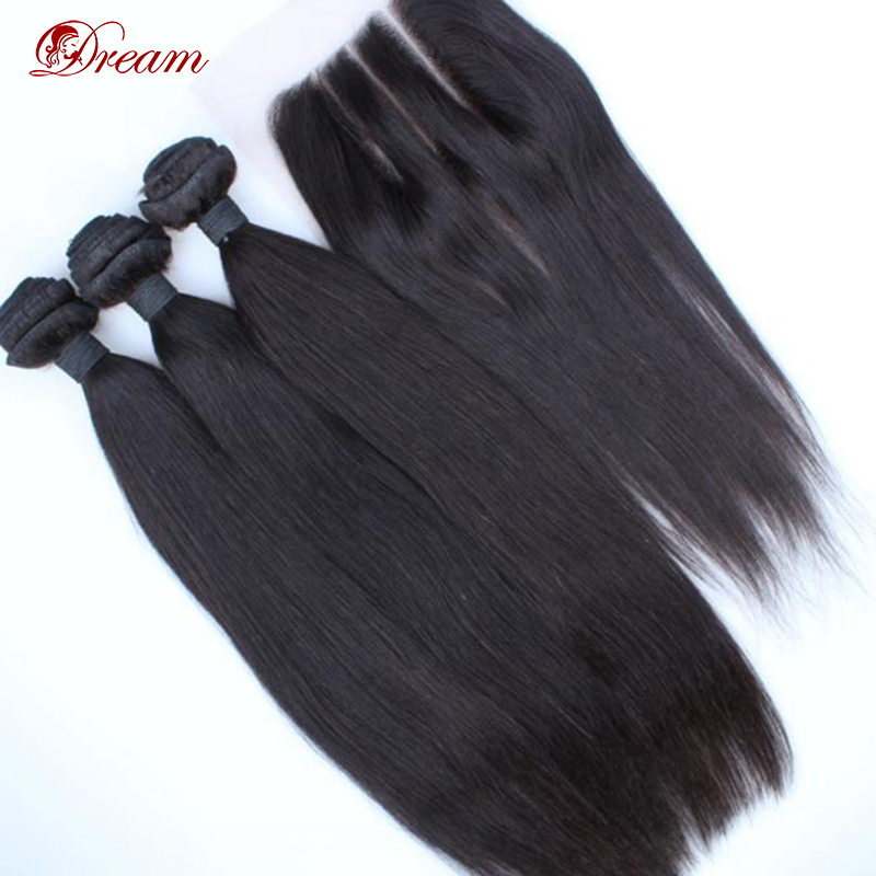 Гаджет  Hot Selling In Aliexpress 6A Peruvian Virgin Human Hair Silky Straight Extension With Closure 3way/part 4pcs/lot Free Shipping  None Волосы и аксессуары
